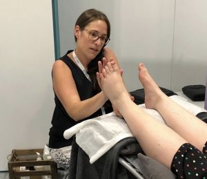 A foot reflexology treatment