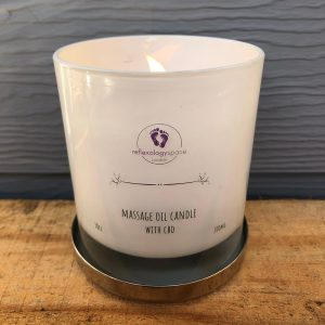 cbd massage oil candle by Reflexology Space London